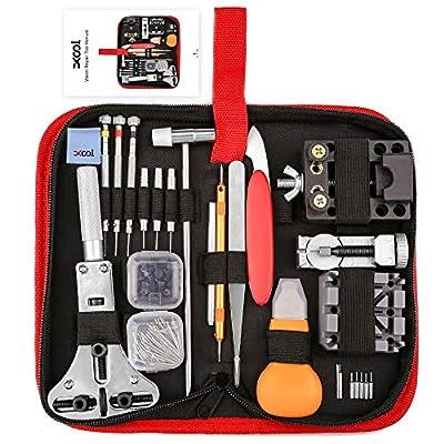 XOOL Watch Repair Kit, 151 PCS Watch Repair Tools Professional Spring Bar Tool Set, Watch Band Link Pin Tool Set, Watch Battery Replacement Tool Kit with Carrying Case and Instruction Manual