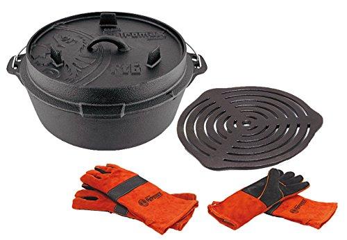 Petromax Set Feuertopf Ft6 (mit Füße) + Grilleinsatz + Handschuhe