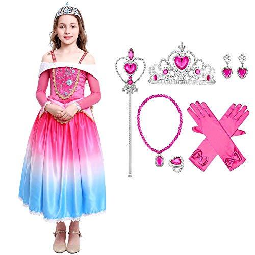 Disfraz de Princesa Aurora Sleeping Beauty Dress para Niña, Disfraz Vestir Bella Durmiente Vestito Carnaval Cosplay Fiesta Halloween Navidad Cuento de Hadas Disfraces Rosa con Accesorios 11-12 Años