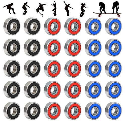 CHIFOOM 30stk 608RS Kugellager Reibungsfreie Skateboard Wheels Miniatur Rillenkugellager Longboard Roller aus Kohlenstoffstahl Scooter für Rollschuhe Inline Skates 40*ABEC-9 Schwarz Blau Rot