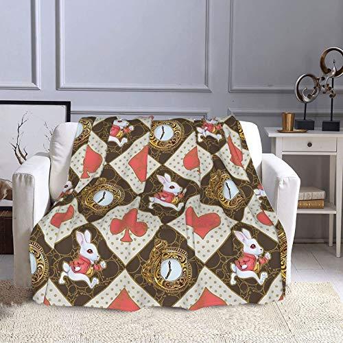 KCOUU Couverture polaire 127 × 152 cm Lapin blanc doux et chaud Couverture décorative pour canapé, lit, canapé, voyage, maison, bureau toutes saisons