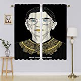 R.B.G Ruth Bader Ginsburg Cortinas con ojales para oscurecimiento de la habitación, aislamiento térmico, cortinas para el pasillo, 132 x 163 cm