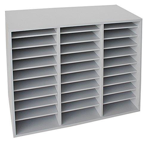 Dila GmbH Fächerschrank mit 30 Fächern Sortierschrank Sortierablage Büroschrank Büromöbel (Lichtgrau)