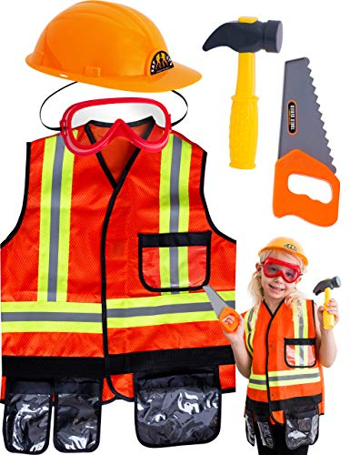 TeganPlay Construction Worker Costume for Boys Role Play Dress Up Kids Construction Vest with Hard Hat and Toy Tools for 3-8 years old…