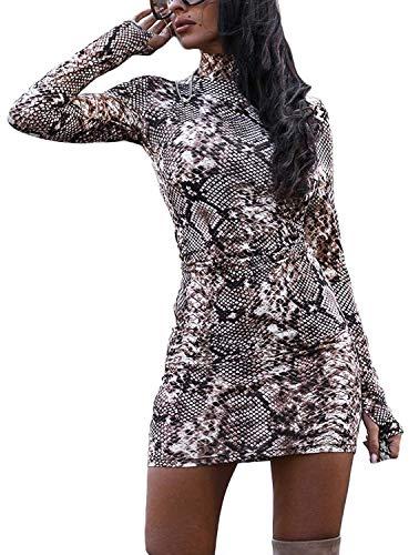 Damen Bodycon Kleid Rollkragen Knielang Elegent eng Partykleid Abendkleid Langarm Kleid Clubwear (Style-C, S)
