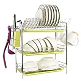 Maypott Dish Drying Rack 3-Tier Dish Rack with Drainboard Utensil Holder, Cup Holder - Chrome Dish Drainer Rack - Stainless Steel Dish Rack for Kitchen (16.5 x 9.4 x 18.7 In)