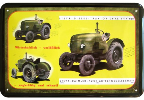 LKW, Bus, Traktor Steyr-Daimler-Puch Typ 180 26 PS Dieselschlepper Reklame Blechschild Replik