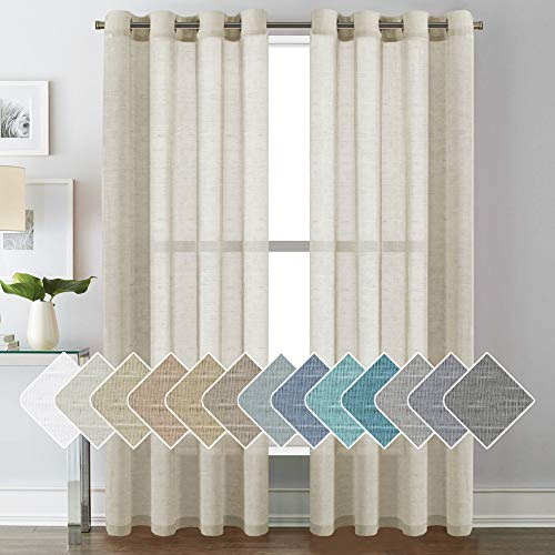 52 - Inch Width by 84 - Inch Length Natural Linen Blended Curtain Panels for Living Room / Light Reducing Linen Sheer Curtains, Nickel Grommet Window Panels -Set of 2, Natural