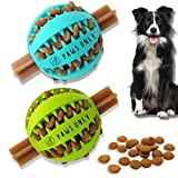 PawsOnlyUK Treat Dispenser Dog Toy Ball | Interactive Dog Toys for Boredom | Dog Puzzle Toy | Teeth Cleaning (6 CM, GREEN + BLUE)
