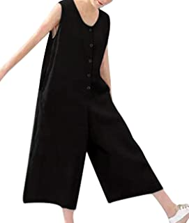 Yesno P92 Women Overalls Jumpsuits Button-Down 100% linen Casual Loose Waist Low Crotch Wide Leg