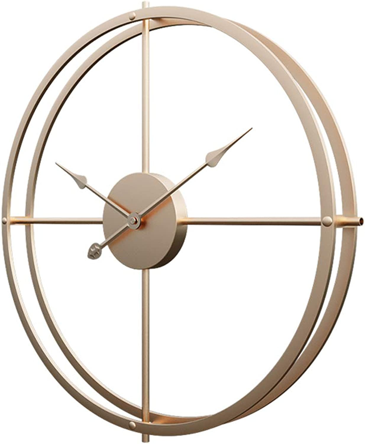 RuiyiF 16 Inch Silent Wall Clock Non Ticking, Metal Vintage Unique Wall Clocks Large Decorative for Kitchen Living Room Office (gold, 16 Inch)