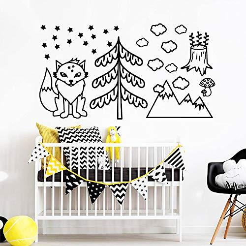Fox Stickers muraux Amovible Chambre d'enfant décoration de la Maison Carte de la Maison Murale Salon 57x104cm