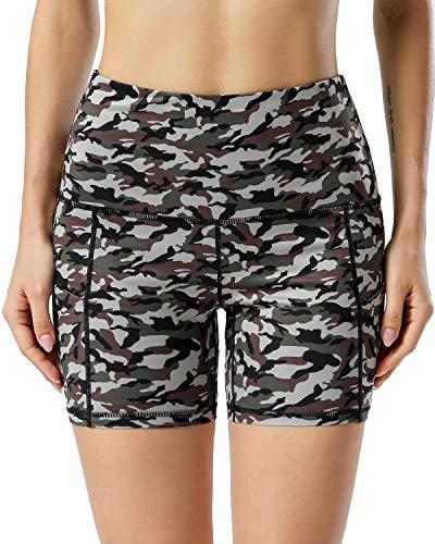 AUU Yoga-Shorts mit hoher Taille für Damen, mit 2 Seitentaschen, Bauchkontrolle, Lauf-Shorts für zu Hause, Camouflage, Größe L
