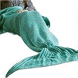 #N/D Manta de Cola de Sirena Manta de Sirena de Ganchillo para Adultos Mantas de Punto para Dormir súper Suaves Todas Las Estaciones