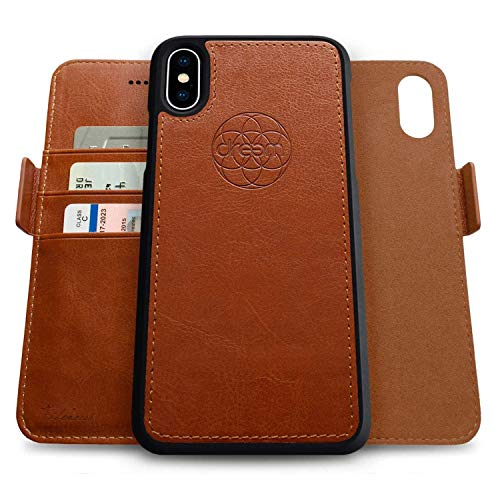 Dreem Fibonacci 2-in-1 Wallet-Case for Apple iPhone X & Xs - Luxury Vegan Leather, Magnetic Detachable Shockproof Phone Case, RFID Card Protection, 2-Way Flip Stand - Caramel