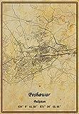Peshawar Karte Pakistan, Wandkunst, Poster, Leinwanddruck,