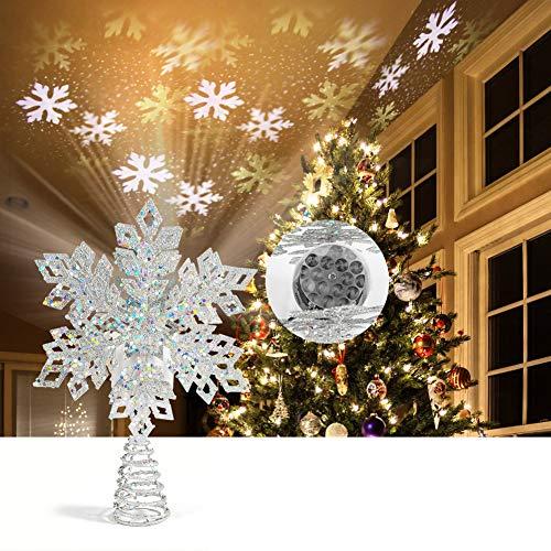 ROTEK 3D Weihnachtsbaumspitze Stern, Schmiedeeisen Weihnachtsbaum Topper mit LED Projektor, Schneeflocke Form Weihnachtsbaum Top Projektor, Christbaumspitze Drehen Schneeflocke für Dekoration(Silber)