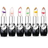 Pack of 6 Crystal Flower Jelly Lipstick, FirstFly Long Lasting Nutritious Lip Balm Lips Moisturizer Magic Temperature Color Change Lip Gloss (Black)