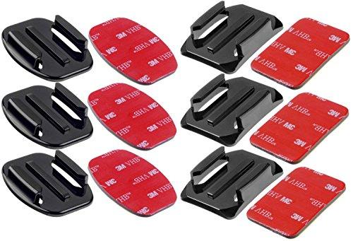 yayago 6er Set Flat + Curved Mount mit 3M VHB Adhesive Sticker geeignet für AEE Actionkamera S60