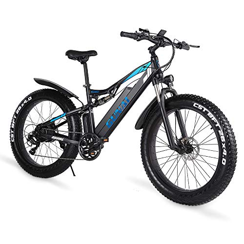 GUNAI Electric Bike 1000w 26 Inch Fat Tire Mountain Bike with Removable 48V 17AH Lithium-Ion Battery and Dual Shock Absorption