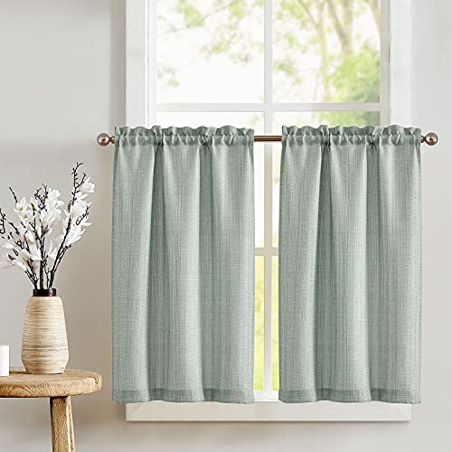 JINCHAN Kitchen Curtains 36 Inch Tier Curtains for Living Room Heathered Mint Green Linen Textured Cafe Curtains Bathroom Farmhouse Country Light Filtering Short Window Curtain Set Rod Pocket 2 Panels