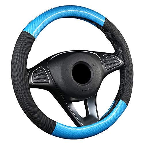 ZJSWC Cubierta del Volante, Tela De Fibra De Carbono, Adecuada para Automóvil/Camión/SUV/Camioneta, Tamaño 38 Cm - Azul