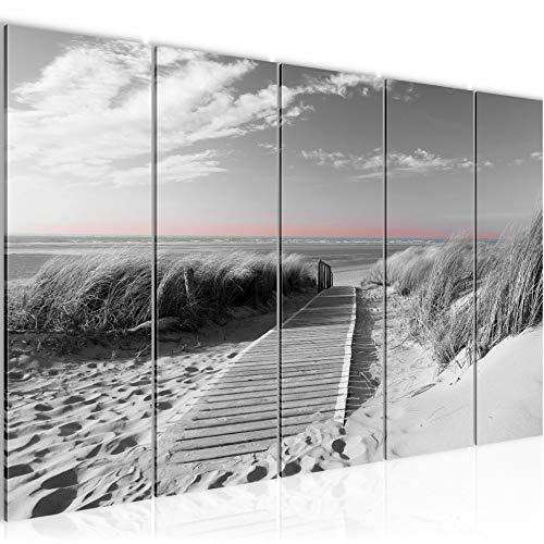 Bilder Strand Meer Wandbild 200 x 80 cm Vlies - Leinwand Bild XXL Format Wandbilder Wohnzimmer Wohnung Deko Kunstdrucke Rosa Grau 5 Teilig - MADE IN GERMANY - Fertig zum Aufhängen 604055c