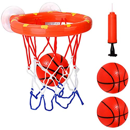 Cyfie Bath Toys for Kids, Bathtub Basketball Hoop & Balls Set, Office Balls Playset with 3 Hard Balls for Boys Girls Kids Toddlers Bathroom Slam Dunk Game Gadget Indoor Outdoor Use