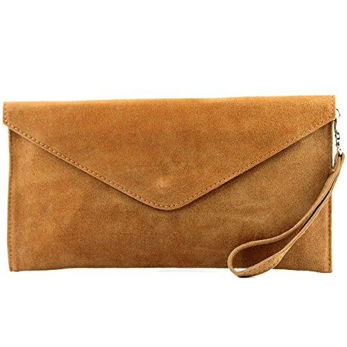 modamoda de - T106 - ital Clutch Abendtasche aus Wildleder, Farbe:Camel2