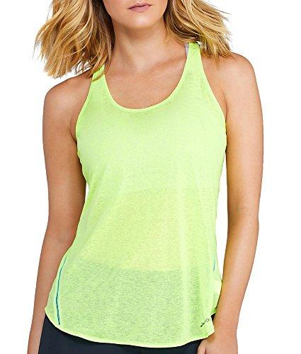 Brooks Damen Laufshirt ärmellos Sport Tank Top Ghost Racerback Pink oder Gelb (Gelb, M)