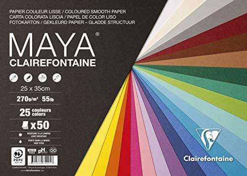 Clairefontaine 975405C – Paquete de papel de dibujo liso Maya 50 hojas 25 x 35 cm, 270 g, colores surtidos (25 colores x 2 hojas)