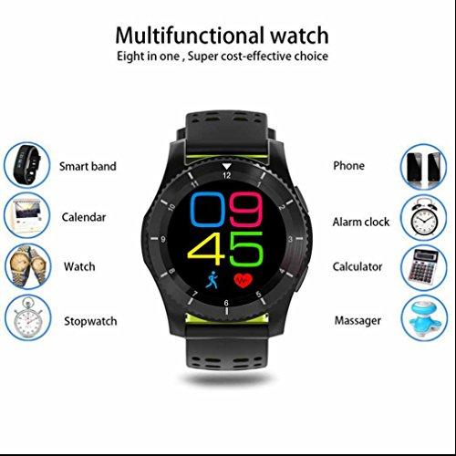 GFEines Bluetooth Smartwatch Intelligente Armbanduhr Hochwertiges Smartwatch Pedometer Fitness Tracker Heart Rate Monitor Freisprechen Anrufe funktion Smart uhr Fitness Handy Uhr mit Kamera für iPhone IOS?
