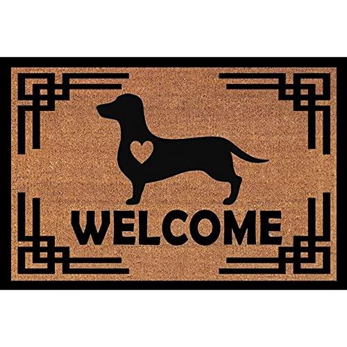 N/A Felpudo Entrada Perro Dachshund con corazón, tapete para Puerta, Felpudo de Bienvenida, tapete de Estilo clásico, para Amantes de los Perros, decoración del hogar-16x24 Inch