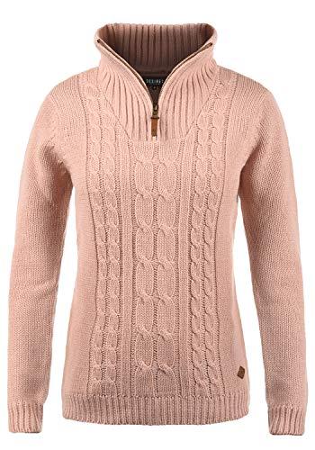 DESIRES Carry Damen Winter Strickpullover Troyer Grobstrick Pullover mit Stehkragen, Größe:S, Farbe:Mahog. Rose (4203)