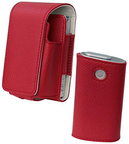 glo グロー ケース 人気 PUレザー 本体 まとめて 収納 二段 スリーブ セット G001 G003 G004 series 2 カバー 赤 レッド そのままイン ハイクラス 14A-RD