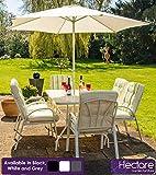 HECTARE Hadleigh 6 Seater Garden Patio Dining Furniture Set (White)