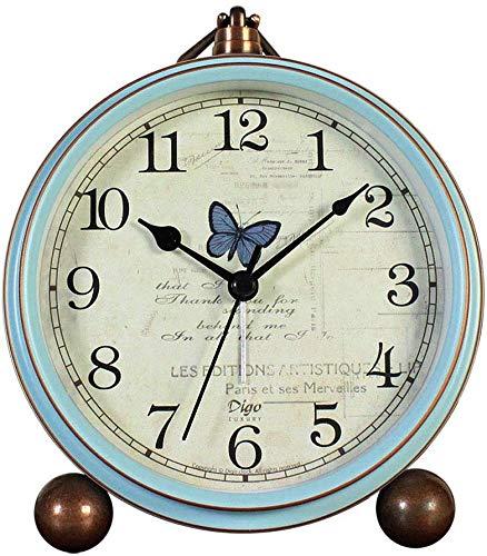 Attoe Kleine Uhr,Tisch Uhr, Vintage Nicht Tisch Schreibtisch Wecker batteriebetrieben mit Quarzwerk HD Glas für Schlafzimmer/Wohnzimmer/Kinder (Schmetterling)