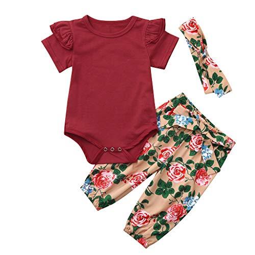 Baby Meisje Kleding Set Pasgeboren Kinderen Lange Mouw Effen Romper Jumpsuit Bodysuit Bloemen Leggings Broek + Hoofdband Outfits 3 Stks Sets Pyjama Sets Geschenken 3-24 Maanden