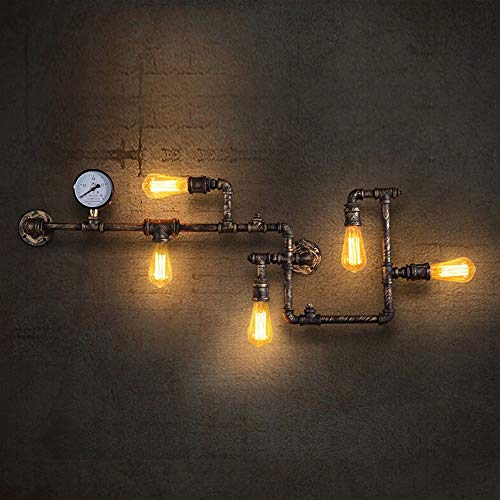 Lingkai Vintage Industrial Retro Metall WasserRohr WandLampe mit Fünf Edison Lichtquellen Steampunk Wand Licht mit Kupfer Finish