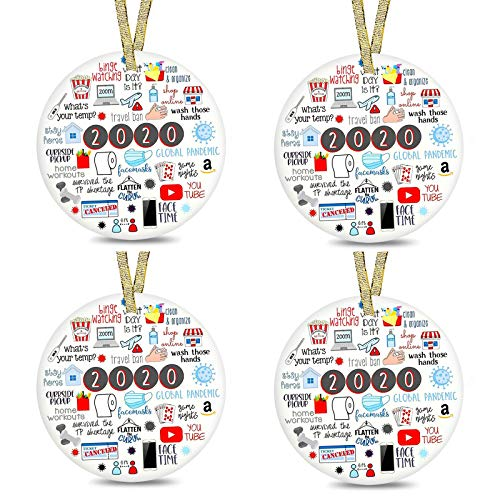 wuyule 2020 A Year to Forget, 2020 Christmas Ornament, Commemorative Ornament, Ceramic Round Ornament & Ribbon for Xmas Tree Ornament Hanging (4 PCS, A)