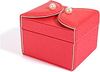 Girl with Mirror Jewelry Box Multifunctional Jewelry Box Separate Storage Box(Red One Size)
