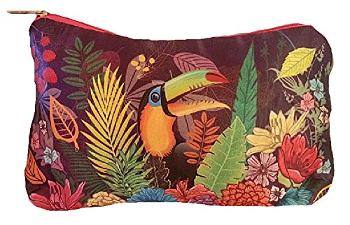Trendstern® Trendprodukteshop Kosmetiktasche Kulturtasche Kulturbeutel Papagei Vögel Blumen Tropical Garden (lila 1 Papagei)