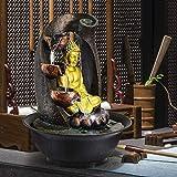 ZKDY Fuente Buda Interior - Escultura Zen Fuente Tablero del Agua Buda de Oro y de circulación de Agua for la decoración de Interiores del sueño Relajación Fuente Interior (Color : D)