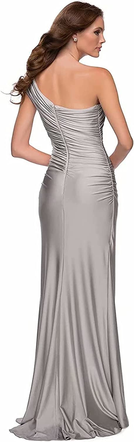 One Shoulder Satin Prom Dresses Mermaid High Split Bridesmaid Dresses Formal Evening Party Gowns for Women