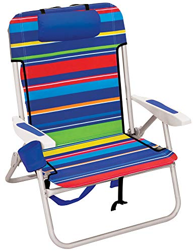 Rio Beach Big Boy 4-Position 13' High Seat Backpack Beach or Camping Folding Chair, Pop Surf Stripes