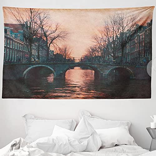 ABAKUHAUS Landschaft Wandteppich & Tagesdecke, Amsterdam Weinlese-Brücke, aus Weiches Mikrofaser Stoff Wand Dekoration Für Schlafzimmer, 230 x 140 cm, rosa-Grau