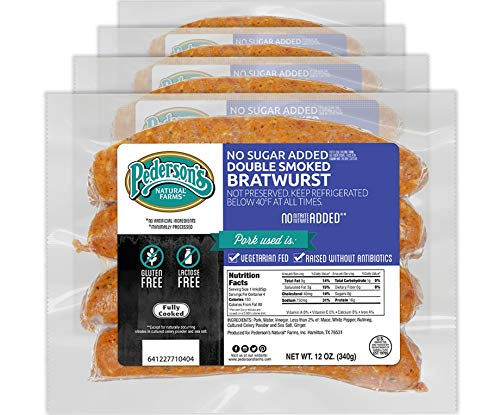 Pederson's Farms No Sugar Added Double Smoked Bratwurst Links - Whole 30 Approved (5 Pack) 12oz ea - Keto and Paleo Diet Friendly, no Nitrates or Nitrites, Uncured Sausage, Gluten Free