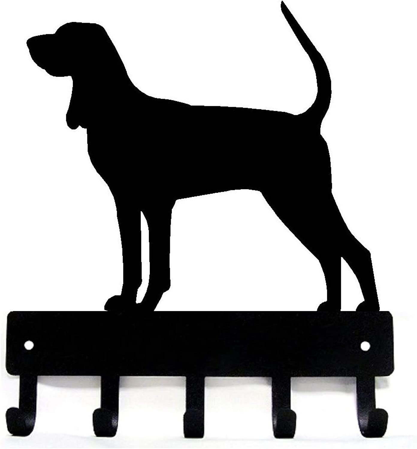 The Metal Peddler Coonhound Key Rack Dog Leash Hanger - Large 9 inch Wide