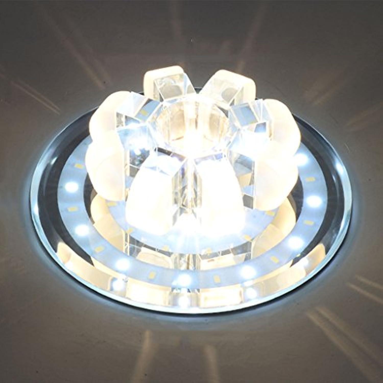 Deckenleuchte Moderne minimalistische kreative LED Runde Kristall Lampe Korridor Flur Eingang Lampe (Farbe   Wei)