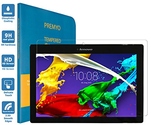 PREMYO Pellicola Vetro Temperato Compatibile con Lenovo Tab 2 A10-70 Protezione Schermo Durezza 9H Bordi 2,5D Anti-Graffi Bolle Impronte